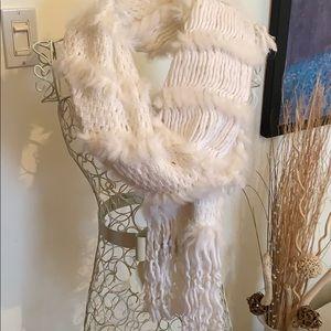 Holt Renfrew mixed fur knit scarf